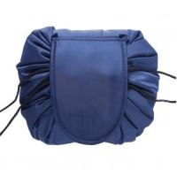 Ленивая нейлоновая косметичка-мешок на липучке, цвет синий