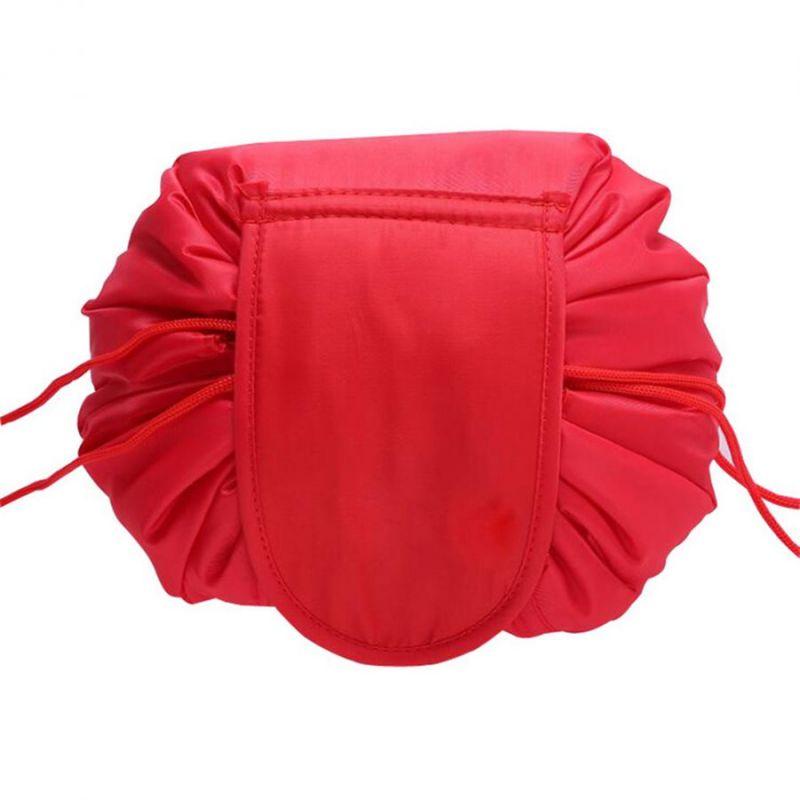 Ленивая нейлоновая косметичка-мешок на липучке, цвет красный