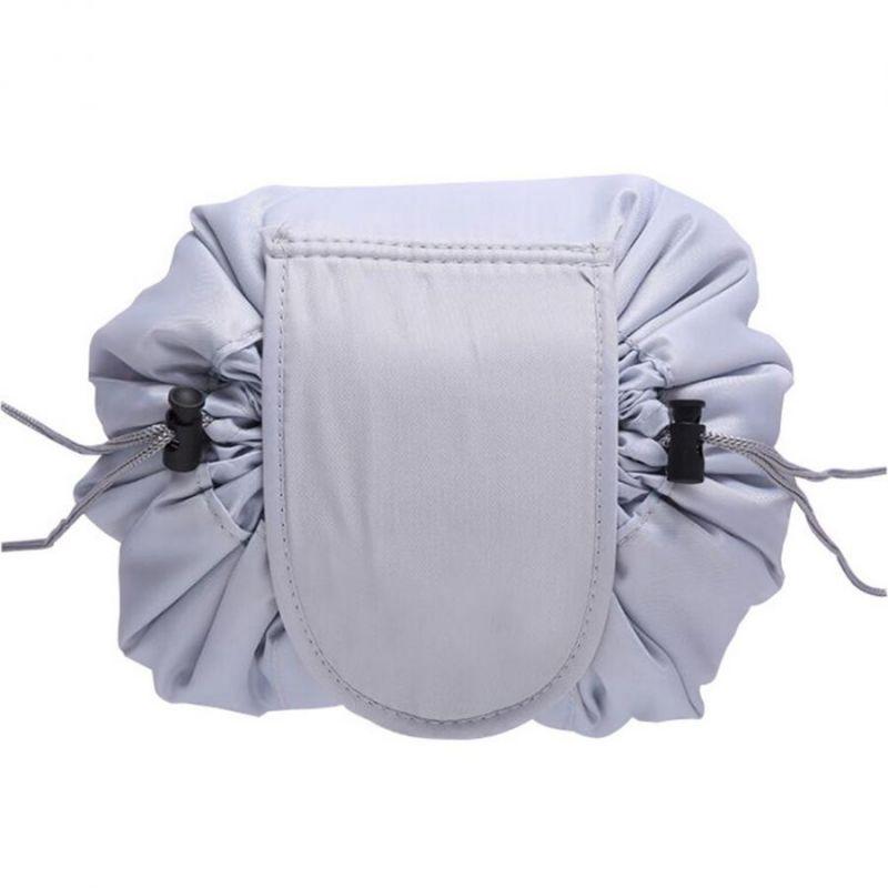Ленивая нейлоновая косметичка-мешок на липучке, цвет светло-серый