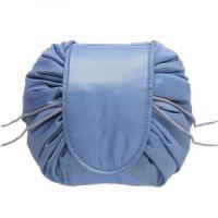 Ленивая нейлоновая косметичка-мешок на липучке, цвет голубой