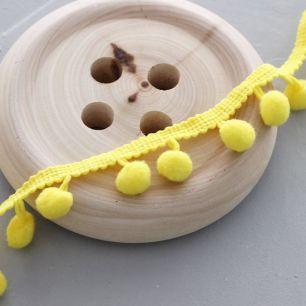 Тесьма с помпонами , желтая