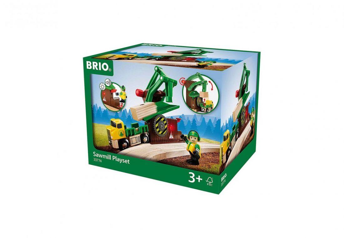BRIO Игровой набор «Лесозаготовочная станция», свет, звук, подвижная пила, подъемник, груз, фигурка, грузовик