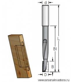 Фреза для выборки глубоких пазов под дверные и мебельные замки WPW 16x25x81x130x12 WPW DT16002M