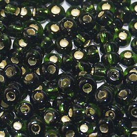 Бисер чешский 57290 темно-зеленый прозрачный серебряный внутри (огонек) Preciosa 1 сорт