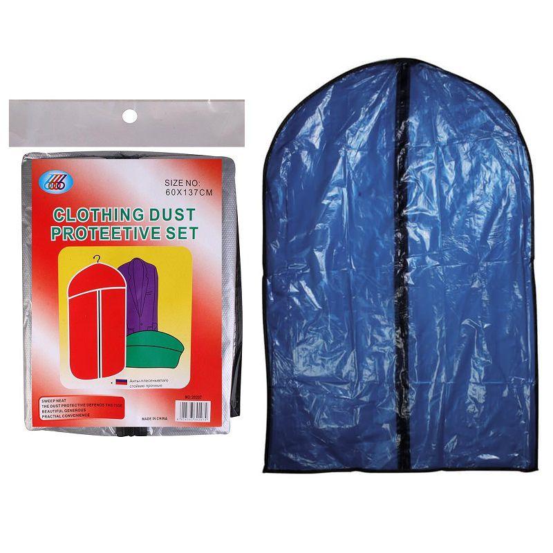 Полиэтиленовый чехол для одежды на молнии, 60Х137 см, цвет синий