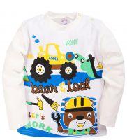 Лонгслив для мальчиков 1-4 лет Bonito kids белый с трактором