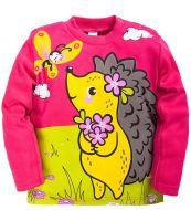Лонгслив для девочек 1-4 лет Bonito kids малиновый с ёжиком