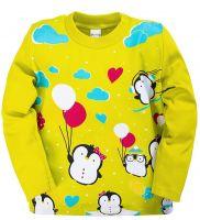 Лонгслив для девочек 1-4 лет Bonito kids лимоновый с пингвинами