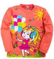 Лонгслив для девочек 1-4 лет Bonito kids коралловый с единорожкой