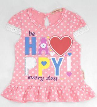 Туника для девочек 1-5 лет Bonito kids розовая в горошек