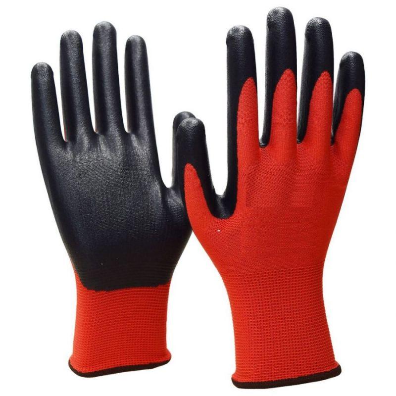 Нейлоновые перчатки с нитриловым покрытием, 12 пар, цвет красный