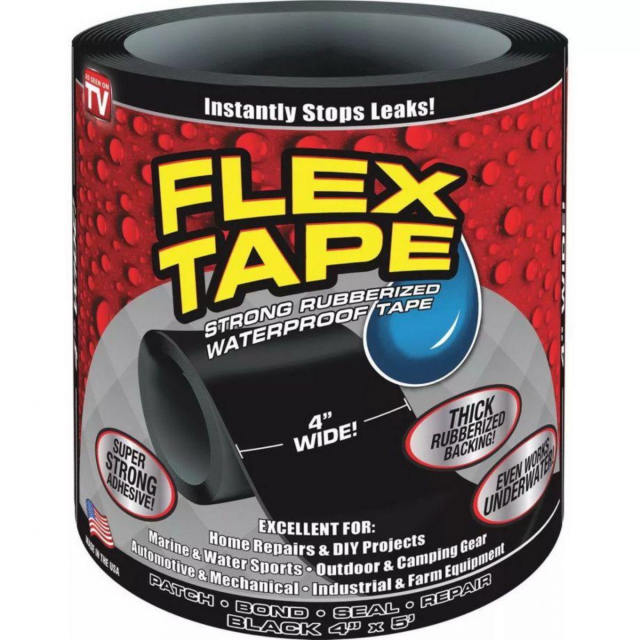 """Сверхсильная клейкая лента Flex Tape 4"""" (10х152 см), Цвет Черный"""