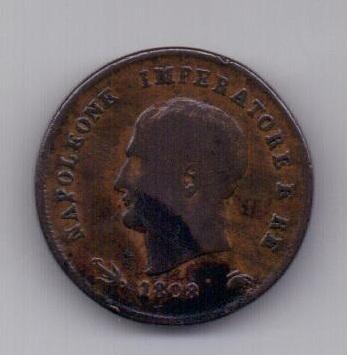 3 чентезимо 1808 года V Наполеон l Бонапарт Италия Франция