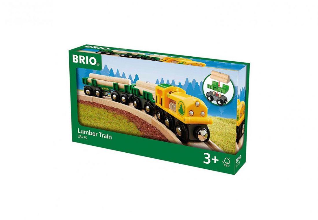 BRIO Товарный поезд «Лесовоз», 3 вагона, 4 бревна на магнитах