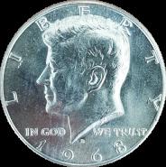 50 ЦЕНТОВ 1968 года США Кеннеди, СЕРЕБРО