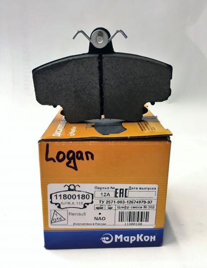 Колодки тормозные передние Logan 11800180 Маркон