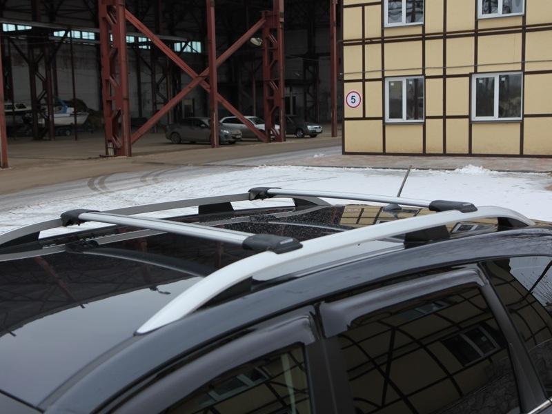 Багажник на рейлинги FicoPro R-45, серебристый, крыловидные аэродуги