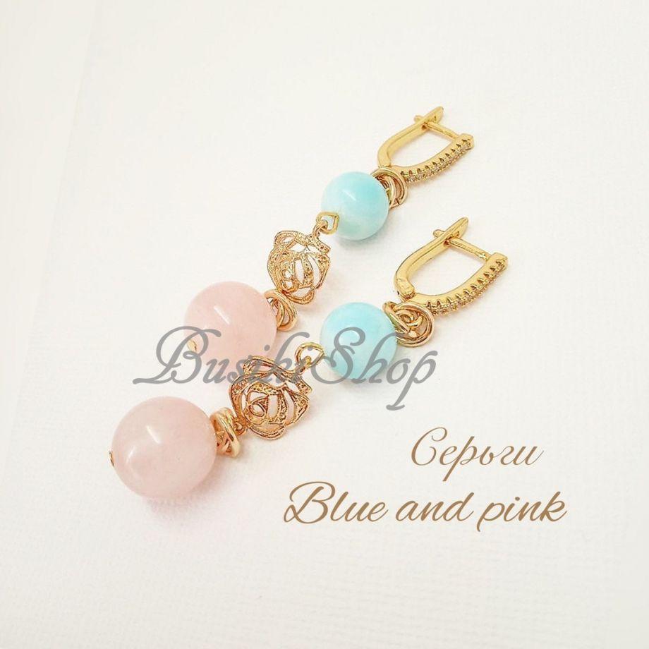"Серьги ""Blue and pink"""