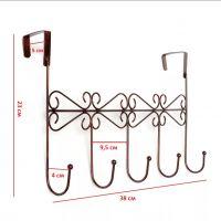 Винтажная планка с 5-ю крючками для крепления на дверь, 38х23 см (4)