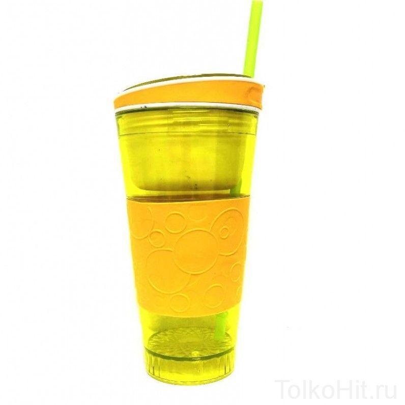Стакан - контейнер непроливайка 2 в 1 Snackeez Желтый