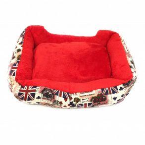 Прямоугольный лежак для животных, 40х32см, Цвет Бежевый, Рисунок Британский флаг