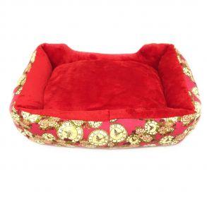 Прямоугольный лежак для животных, 40х32см, Цвет Красный, Рисунок Часы и розы