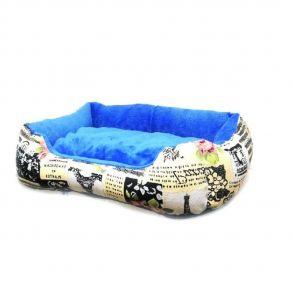 Прямоугольный лежак для животных, 40х32см, Цвет Бежевый, Рисунок Эйфелева башня
