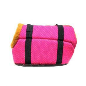 Переноска для собак с меховой отделкой и узором, Цвет Розовый, Узор В горошек