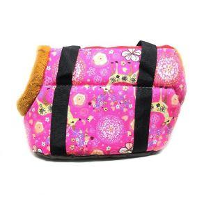 Переноска для собак с меховой отделкой и узором, Цвет Розовый, Узор Олени и цветы