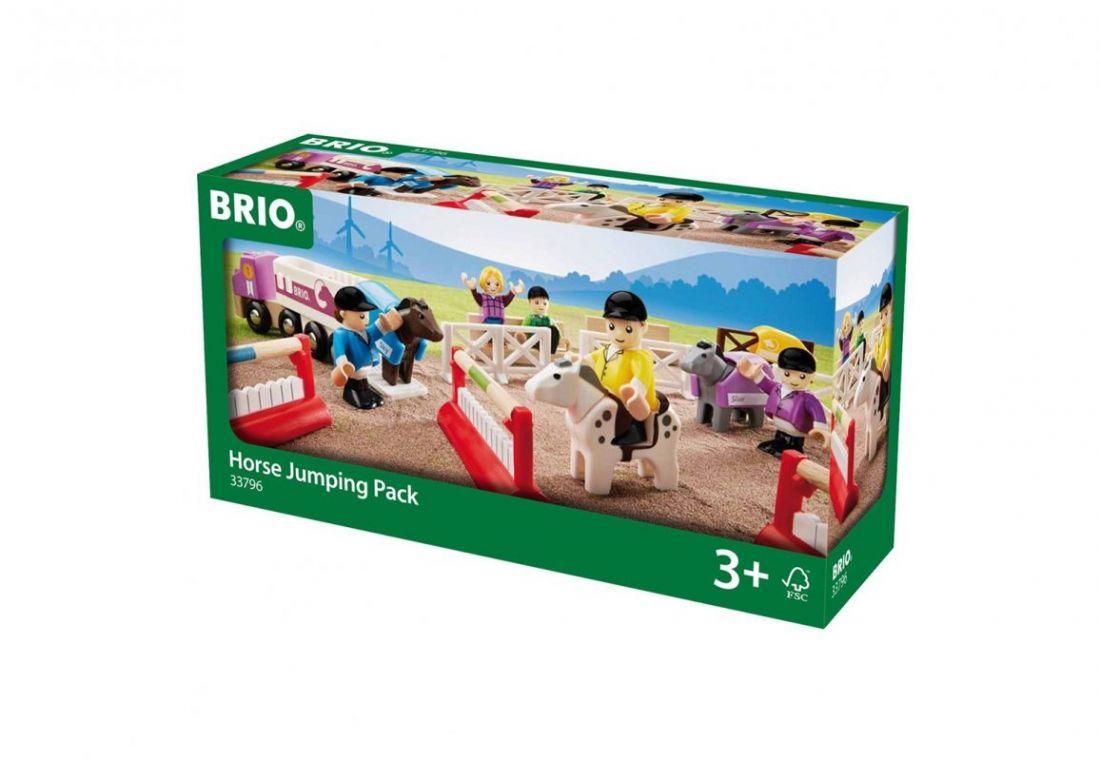 """BRIO Игровой набор """"Ипподром"""", 3 лошадки, 5 фигурок, машина, барьеры"""