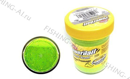 Форелевая паста Berkley PowerBait Natural Scent Trout Bait Cheese Chartreuse Сыр