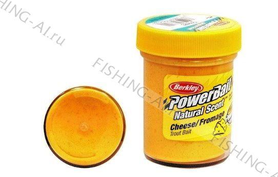 Форелевая паста Berkley PowerBait Natural Scent Trout Bait Cheese Fluo Orange Сыр