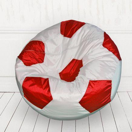Кресло мяч иск.кожа белый с красным