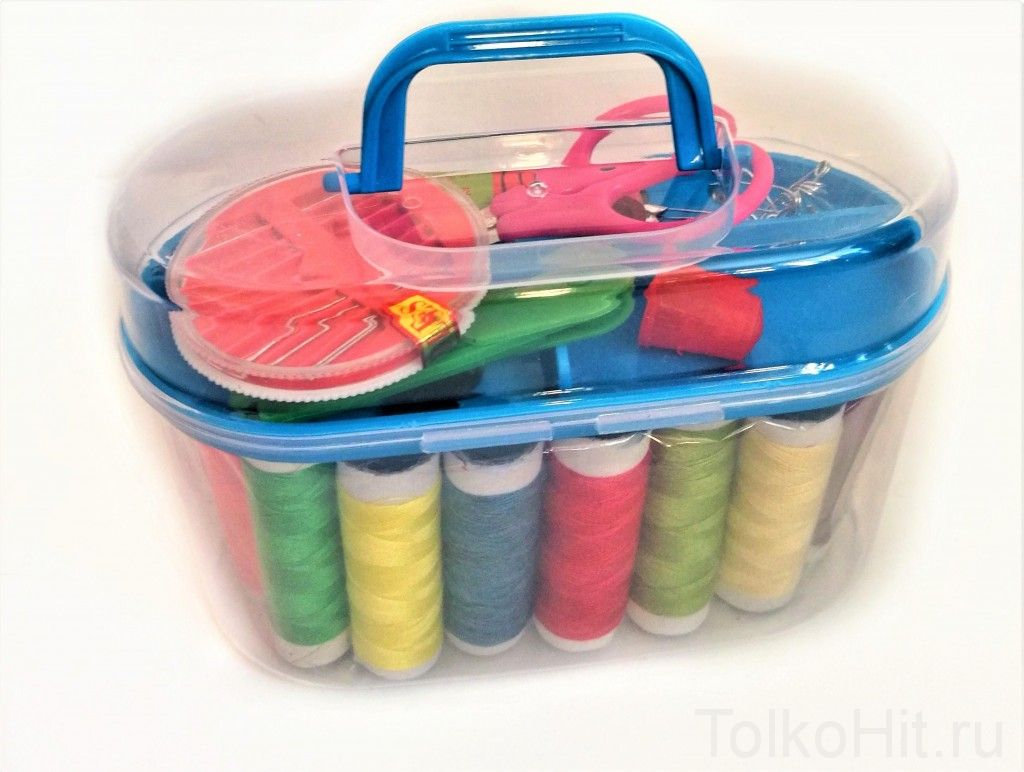 Швейный набор в контейнере, 15х7х9см, Голубой