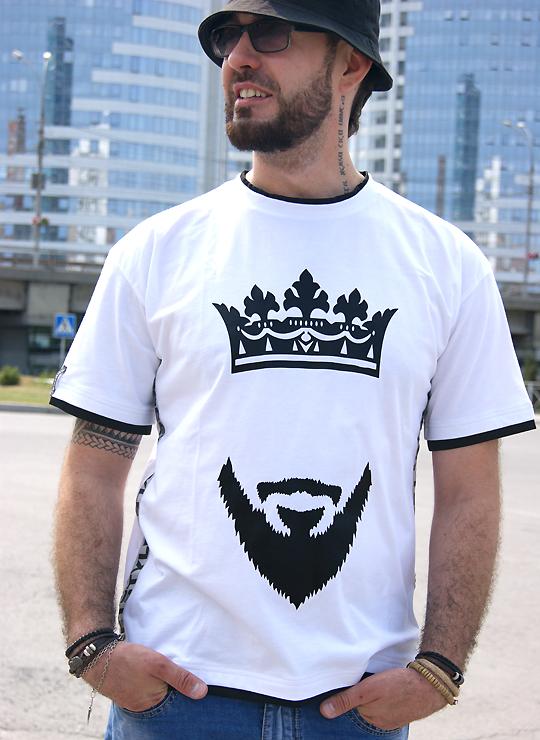 Мужская футболка с принтом Борода и Корона