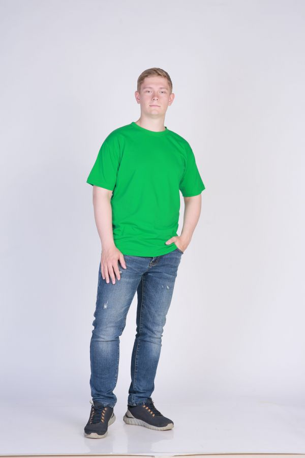 Футболка мужская без принта Зеленая [распродажа]