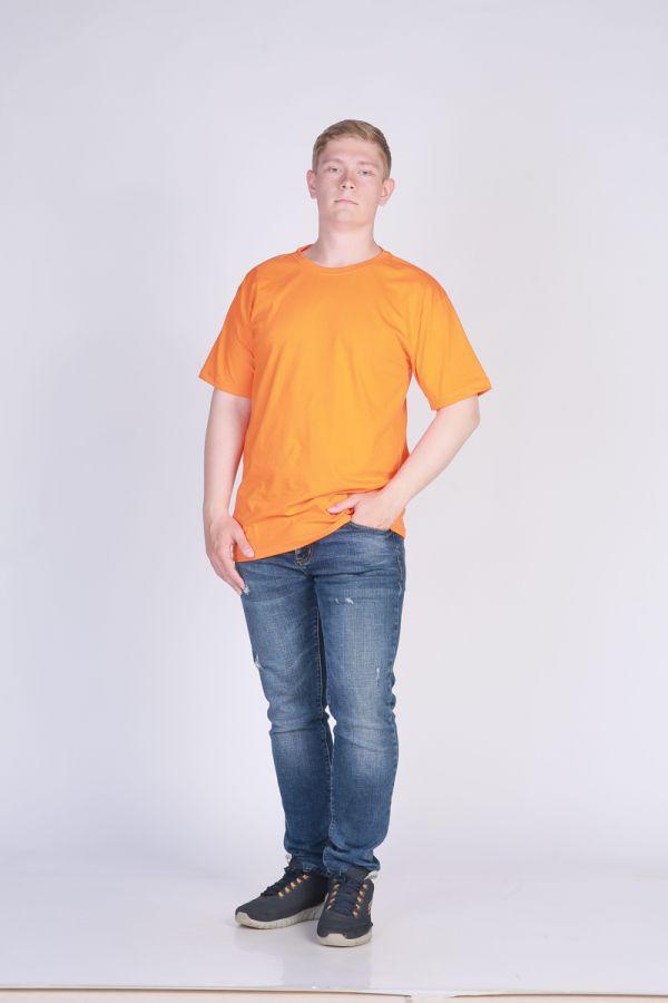 Футболка мужская без принта Оранжевая