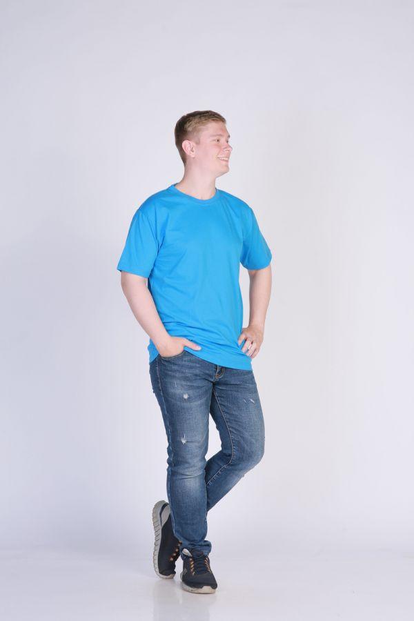 Футболка мужская без принта светло-синяя