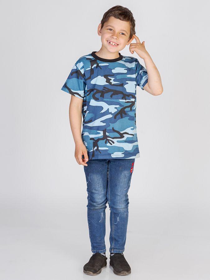 футболка детская без принта Камуфляж синий