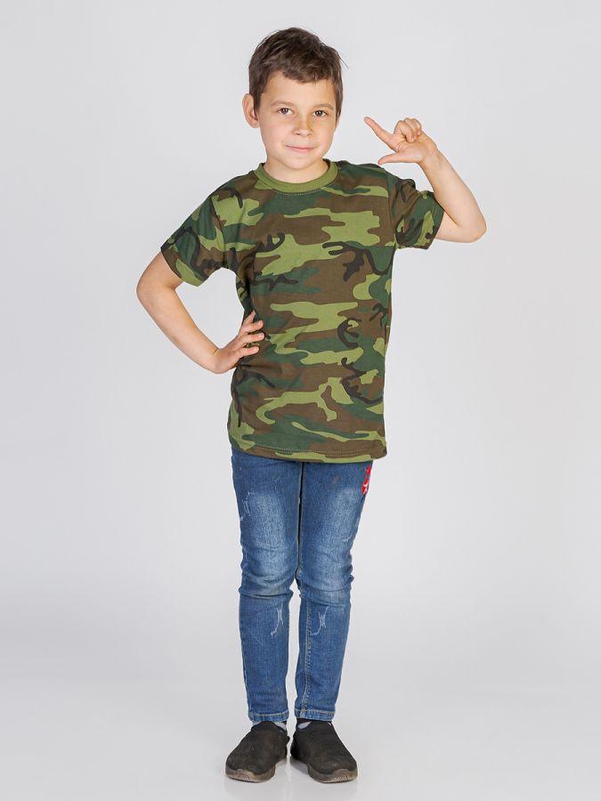 футболка детская без принта Камуфляж