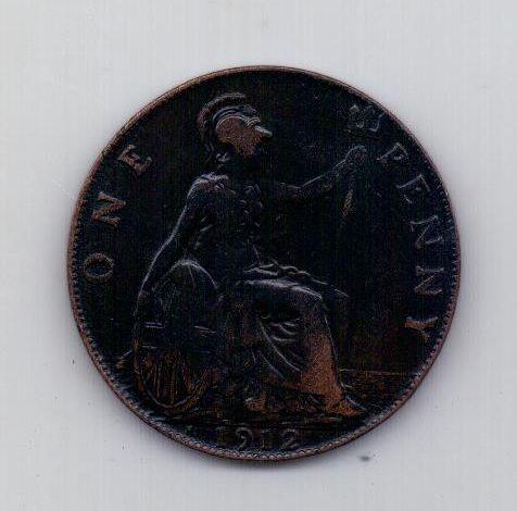 1 пенни 1912 года Н Редкость! Великобритания