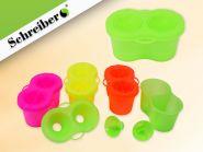 Пластиковый стакан-непроливайка двойной с пробкой, цвет - флуоресцентный микс (арт. S 99310)