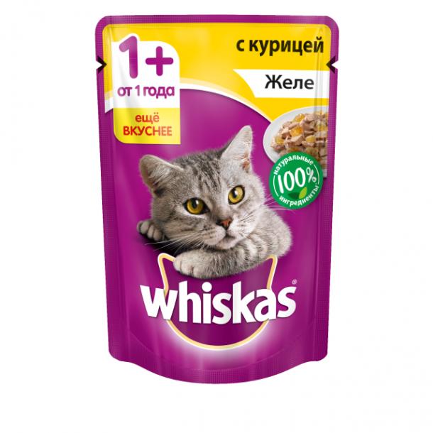 Консервы Whiskas пауч для кошек в желе с курицей, 85гр