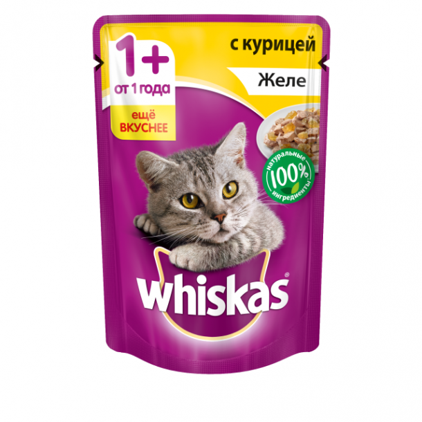 Корм для кошек с курицей кусочки в желе 85 гр