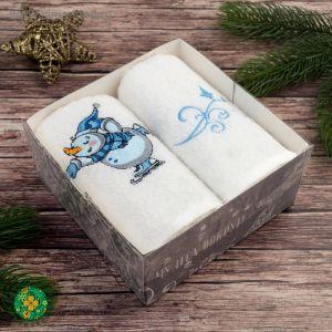 """Набор полотенец """"Экономь и Я"""" Снеговик 30х60 см - 2 шт, цвет белый, 100% хлопок, 340 г/м?"""