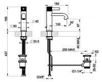 Cмеситель для раковины Gessi Inciso 58001 схема 1
