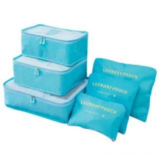 Набор дорожных сумок для путешествий Laundry Pouch, 6 шт, Цвет: Голубой