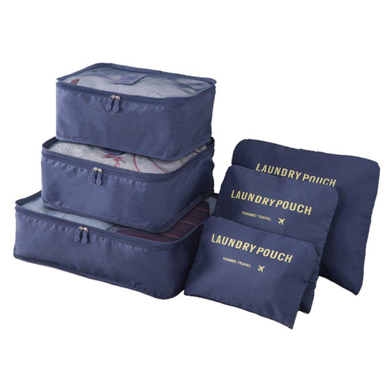 Набор Дорожных Сумок Для Путешествий Laundry Pouch, 6 Шт, Цвет Синий