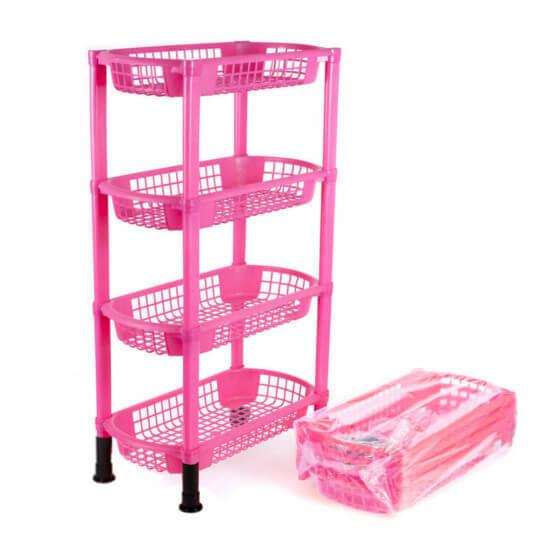 Этажерка 4х-ярусная, цвет розовый