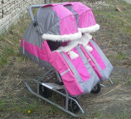 Санки-коляска для двойни с мехом